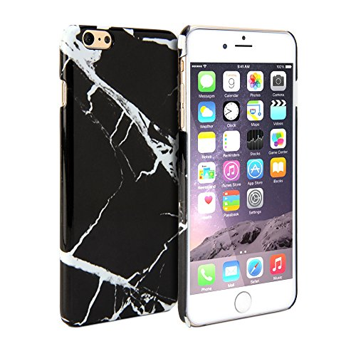 iPhone 6 Plus Case, GMYLE Snap Cover Glossy for iPhone 6 (5.5 inch Display) - Black Marble Pattern Slim Fit Snap On Protective Hard Shell Back Case