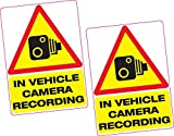 hiusan 2 X in Vehicle Camera Recording Vinyl Sticker 100X70Mm Car Van Taxi Dash Cam