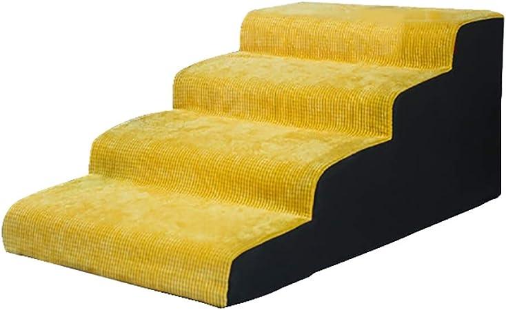 Escaleras de mascotas- Extra Ancho Pasos para Perros 4 Pasos para Cama Alta/Sofá, Amarillo Escalera Antideslizante para Rampa para Mascotas De hasta 130 Libras (Size : 4-Step(High 40cm)): Amazon.es: Hogar