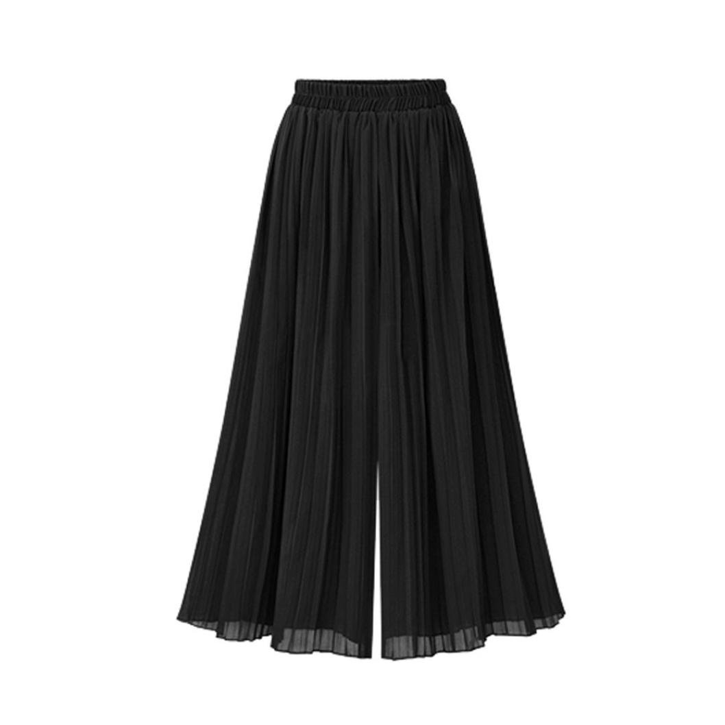 Kimloog Women's Plus Size Elastic Waist Solid Chiffon Wide Leg Pants Casual Loose Trousers (4XL, Black) by KMG