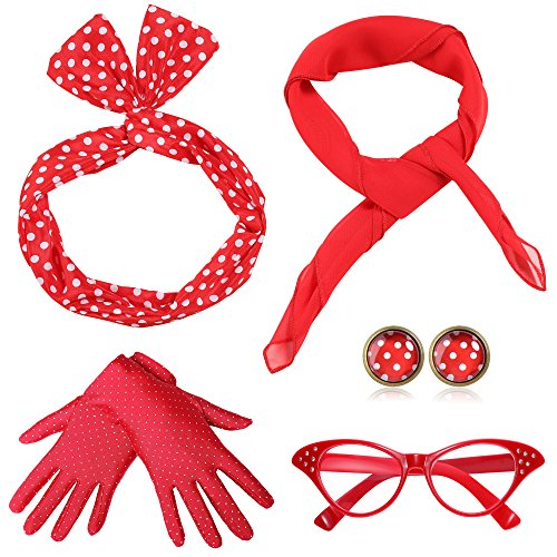ArtiDeco 50s Accessories Bandana Tie Headband Chiffon Scarf Cat Eye Glasses 50s Earrings and Gloves 1950s Costume Accessories (Red) ()