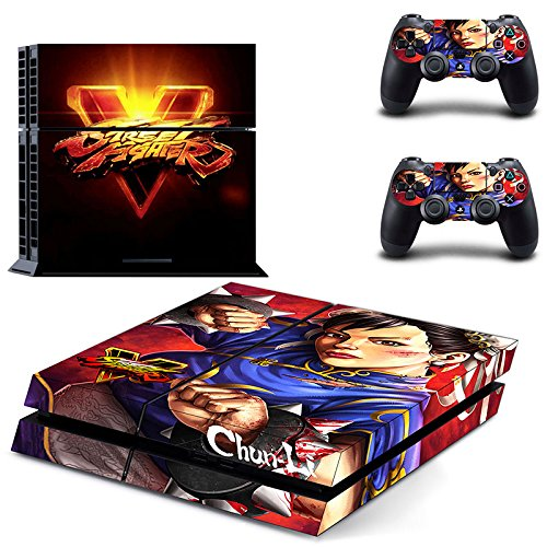 MightyStickers - Street Fighter V Chun-Li Hair Bun SF 5 PS4 Console Wrap Cover Skins Vinyl Sticker Decal Protective for Sony PlayStation 4 + 2 Controller