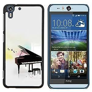 Stuss Case / Funda Carcasa protectora - Tocar Instrumento Notas Blanca - HTC Desire Eye ( M910x )