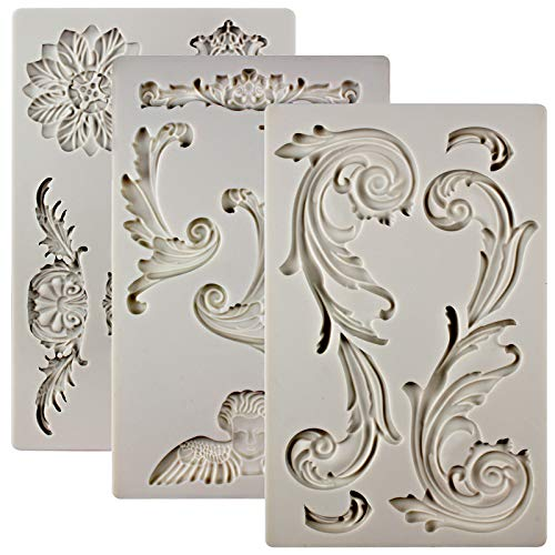 FUNSHOWCASE Baroque Ornament Curlicues Silicone Molds 3-count Cherub|Birdbath|Scrollworks|Art Deco Lace