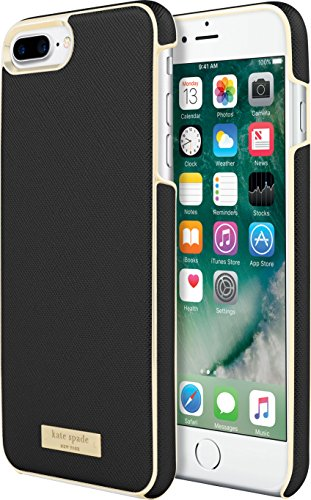 kate spade new york Wrap Case [Shock Absorbing] fits Apple iPhone 7 Plus - Saffiano Black/Gold Logo Plate