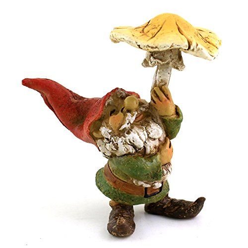 Garden Gnome Sculpted (Top Collection Miniature Fairy Garden and Terrarium Garden Gnome using Mushroom Umbrella)