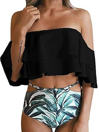 Imily Bela Women's Bikini Ruffle Off Shoulder Top & Floral Shorts Swimsuit Bathing Suit 2pc Sets (Small, Black)
