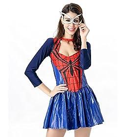 - 51KgjEWqerL - POP Style Women's Halloween Spidergirl Dress Spiderman Cosplay Costume