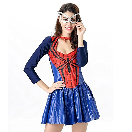POP Style Women's Halloween Spidergirl Dress Spiderman Cosplay Costume (Free (Spiderman Costume For Women)
