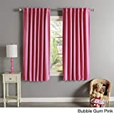 OVS 2 Piece 63 Inch Girls Bubble Gum Pink Solid Color Blackout Curtain Panel Pair, Pink Color Window Drapes, Kids Themed Thermal Energy Efficient Rod Pocket Playful Luxurious, Polyester