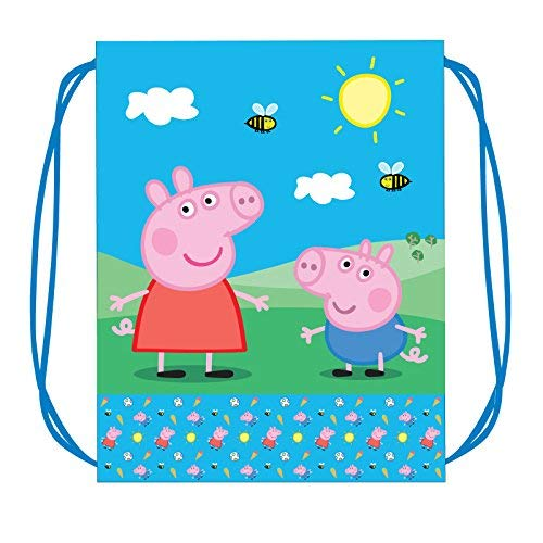 Peppa Pig Drawstring Bag [Pack of 2 Bags] Party Games And Crafts Supplies Kids Gift Backpack Traveling Storage Gym Sack Children Clinch]()