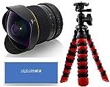 """Digitalmate 8mm f/3.5 HD Manual Fisheye Lens with 12"""" Tripod and Microfiber for Nikon DX Format D7200, D7100, D5500, D5300, D5200, D5100, D3400, D3300, D3200 and D3100 Digital SLR Cameras"""