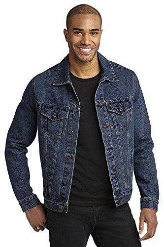 Stonewashed Denim Jacket - Port Authority Men's Denim Jacket 4XL Denim Blue