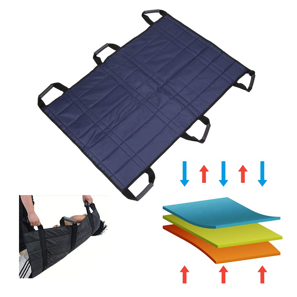 Transfer Boards Belt Slide Bed Assistance Devices Adult Protective Underpads Draw Sheet Turner Medical Lift Sling Hospital Bed Patients Positioning Pad for Elderly Bariatric (Blue - 6 Handles) by NEPPT