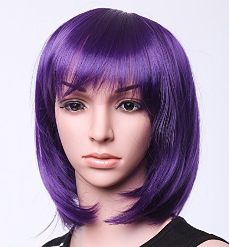 """SWACC 11"""" Women Short Straight Synthetic Bob Wig Candy color Cosplay Wig Anime Costume hairpiece for Party with Wig Cap (Wigs Purple)"""