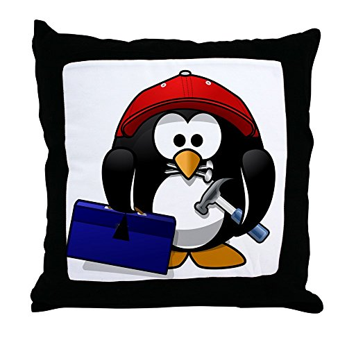 Igloo Wood - Throw Pillow Little Round Penguin - Handy Man Construction Builder
