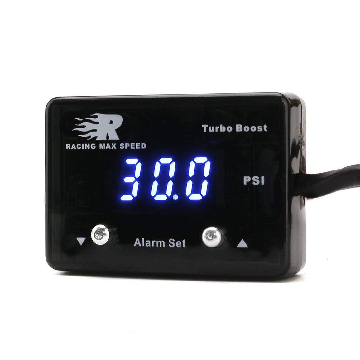 14~40 PSI Aufgeladenes Instrument Aufgeladenes Thermometer Garciadia CNSPEED Blaulicht-Digital-Ladedruckanzeige Auto Booster-Tabelle Farbe: Blau
