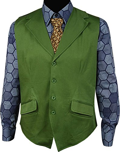 Joker Costumes Dark Knight Halloween (Fangcos Dark Knight Joker Costume Hexagon Shirt+Vest Medium)