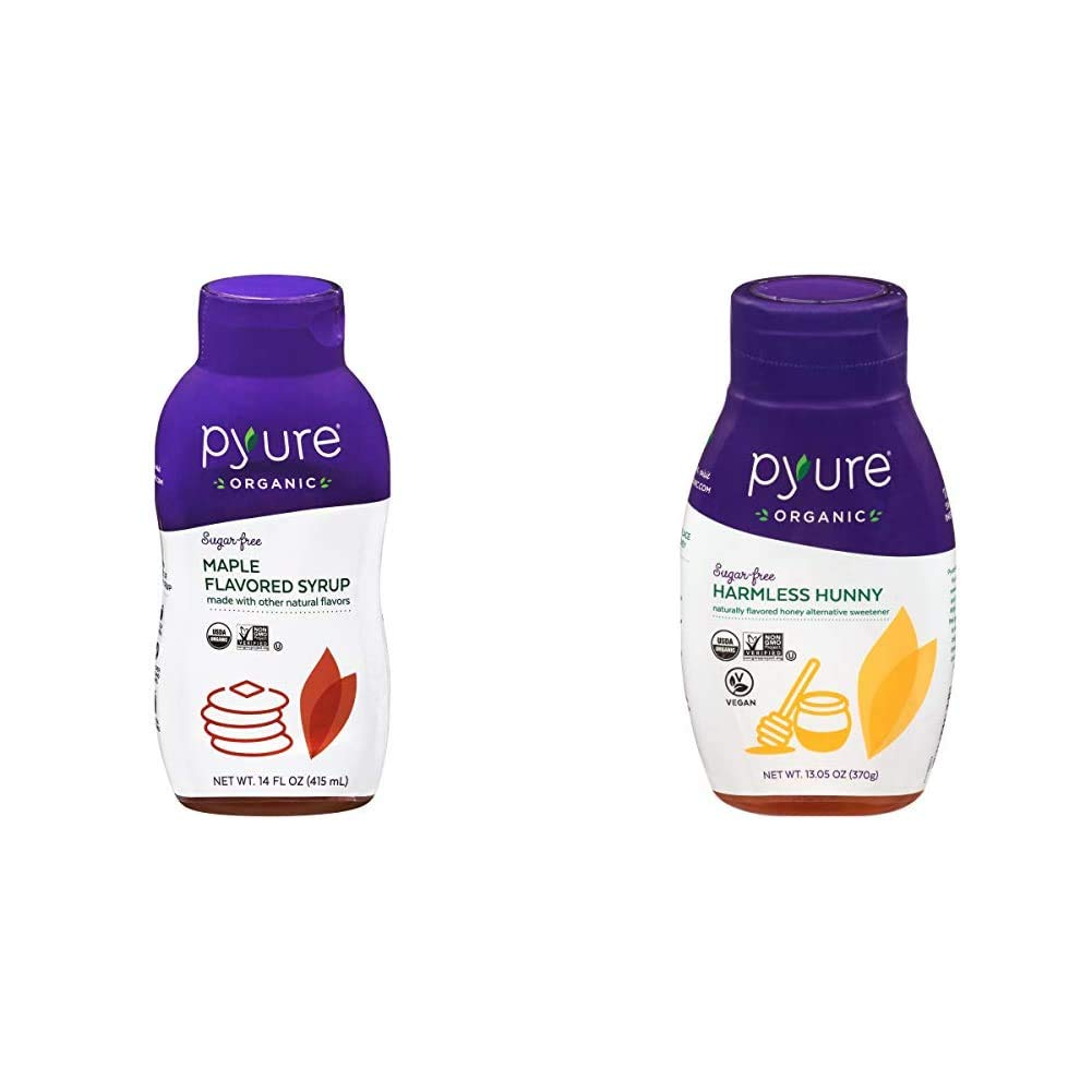 Organic Maple Syrup Alternative by Pyure | Sugar-Free, Keto, Low Carb | 14 Fluid Ounce & Organic Harmless Hunny by Pyure | Vegan Honey Alternative, Sugar-Free, Keto, Low Carb | 13.05 Ounce