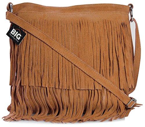 Big Handbag Shop - Bolso con flecos crossbody para dama de gamuza suave Naranja Quemada (St399)