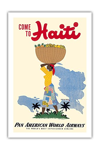 Come to Haiti - Pan American World Airways PAN AM - Vintage World Travel Poster by E. Lafond c.1950s - Premium 290gsm Giclée Art Print - 24in x 36in