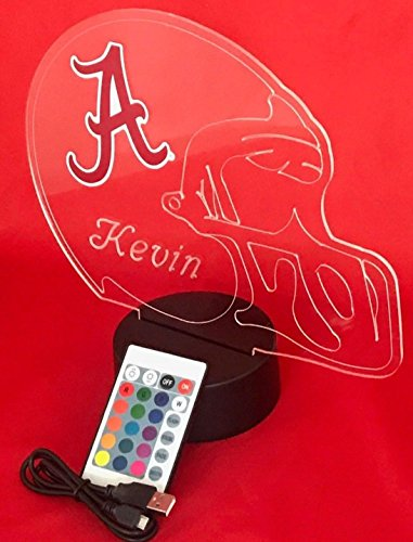 Alabama Crimson Tide NCAA College Football Helmet Light Lamp Light Up Table Lamp LED, Our Newest Feature - It's WOW, With Remote 16 Color Options, Dimmer, Free Engraving, Great (Crimson Helmet)