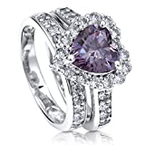 BERRICLE Rhodium Plated Silver Heart Shaped Purple Cubic Zirconia CZ Halo Engagement Ring Set Size 8