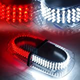 Automotive : Xprite White & Red 240 LED Roof Top Mini Bar, Truck Car Vehicle Law Enforcement Emergency Hazard Beacon Caution Warning Snow Plow Safety Flashing Strobe Light with Magnetic(Other Color Available)
