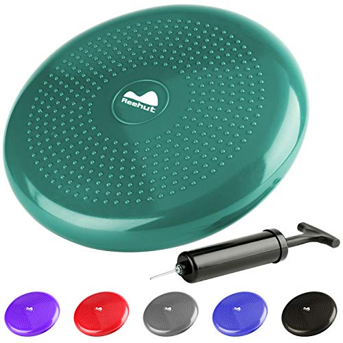 REEHUT Stability Balance Disc Trainer w/Free 9-Page Ebook - 13 Diameter Wobble Cushion w/Air Pump for Workout, Therapy, Fitness and Training Exercise (Green)