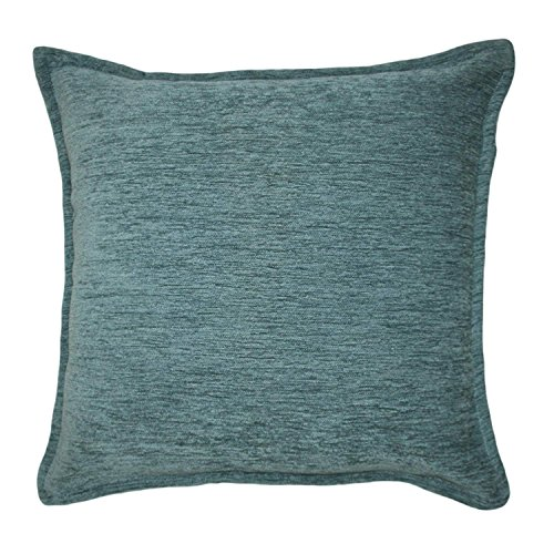 McAlister Textiles Plain Chenille Pillow Cover | Wedgewood Blue Soft Woven Plain Elegant Scatter Throw Cushion Sham | Dimensions - 16 x 16 Inches