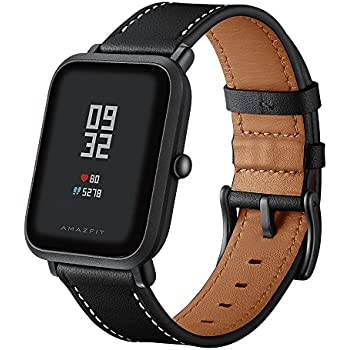Kartice Compatible Amazfit Bip Band,Huami Amazfit Bip Bands Genuine Leather Strap Replacement Buckle Strap Wrist Band for Amazfit Bip Smartwatch. (Black)