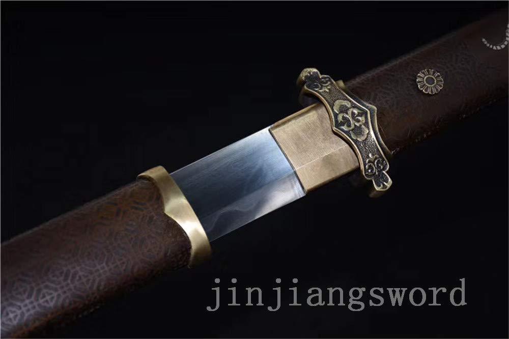 Jiang Tong 1095 Carbon Steel Clay Tempered Japanese Tang Sword Copper Tige SAYA
