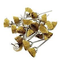 Yasumai Brass Wire Brush Wheel Clean Polishing Wheels Grinder Dremel Rotary Tools 2.35mm Shank 20 Pieces