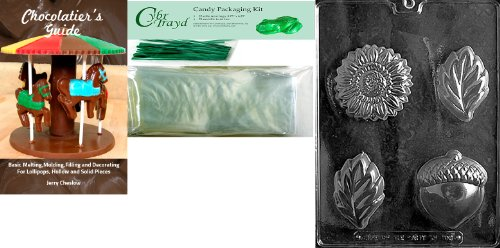 Cybrtrayd MdK25GRBk-F103 Acorn, Sunflower and Leaf Mold Chocolate Candy Mold with Chocolatier's Bundle, Includes 25 Cello Bags, 25 Green Twist Ties and Chocolatier's Guide