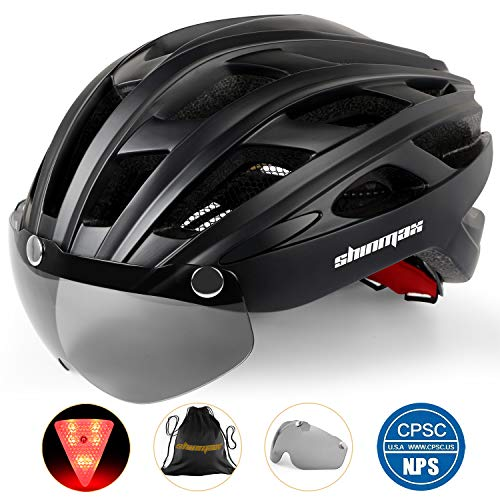 Basecamp Bike Helmet, Bicycle Helmet BC-069 CPSC Safety Standard Cycling/Climbing Helmet with Detachable Magnetic Goggles Visor&LED Back Light&Portable Backpack Adjustable for Adult Men/Women Mountain