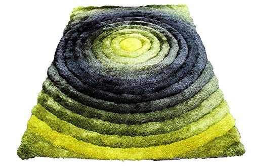 Shag Shaggy Fluffy Fuzzy Furry Shimmer 3D Modern Contemporary Decorative Designer New Soft Living Room Bedroom Soft Area Rug Carpet 5x7 Yellow Black Gray Two Tone Sale (SAD 281 Yellow Black Gray) ()