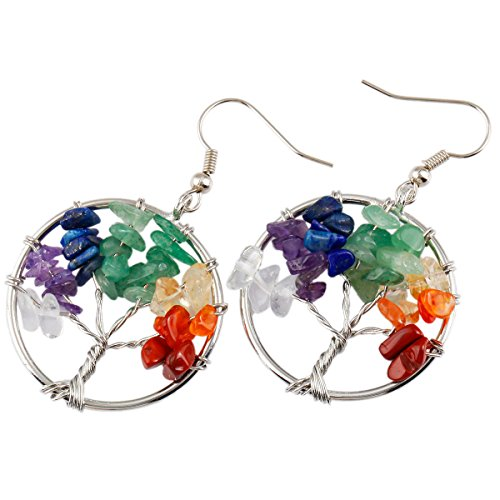 SUNYIK Mixed Stones Tree of Life Dangle Earrings Silver Color