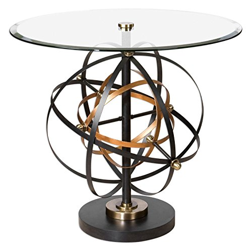 Uttermost Metal Pedestal (Colman Sphere Round Glass Top Accent Table - Black, Gold)