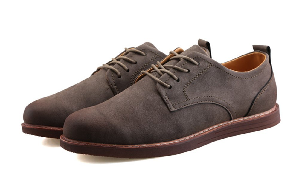 MHB Men's Brogue Classic Dress Oxford Leather Shoes Plain Toe Lacing Semi-Formal 9.5in Gray