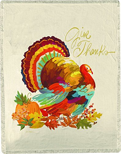 Manual Give Thanks Turkey Thanksgiving Harvest Woven Throw Blanket With Fringe