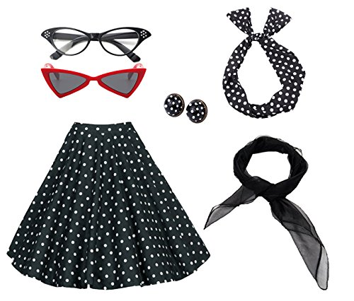 50's Costume Accessories Set Girl Vintage Dot Skirt Scarf Headband Earrings Cat Eye Glasses for Party (M, Black)
