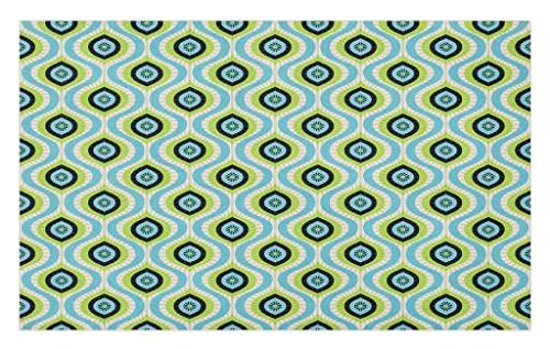 Lunarable Abstract Doormat, Antique Waves Pattern with Retro Design Geometric Graphic Tile Vertical Curves, Decorative Polyester Floor Mat with Non-Skid Backing, 30 W X 18 L inches, Multicolor by Lunarable
