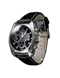 OUKU Men's Silver Case Leather Band Quartz Analog Wrist Watch Casual Watches (black)