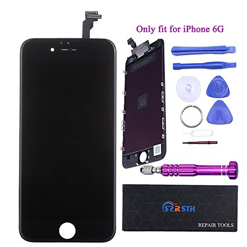 RSTH LCD Screen Display Touch Screen Digitizer Frame Assembly for iPhone 6 4.7 inch Replacement,Repair Tool Kit (Black)