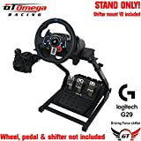 GT Omega Steering Wheel Stand for Logitech G29 Racing Wheel - Pedals & Gear Shifter Mount Set - Supporting Fanatec Clubsport PS4 & PC PRO V2 - Tilt-Adjustable Design for Ultimate Sim Racing Experience