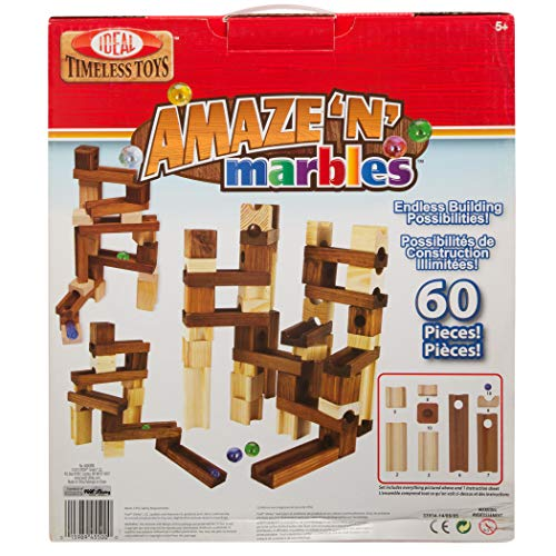 Ideal Amaze N Marbles 60 Piece Classic Wood Construction Set