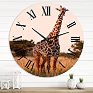 DesignQ Farmhouse Wall Clock 'African Giraffe in The Wild I' Animals Large Wall Clock for Kitch