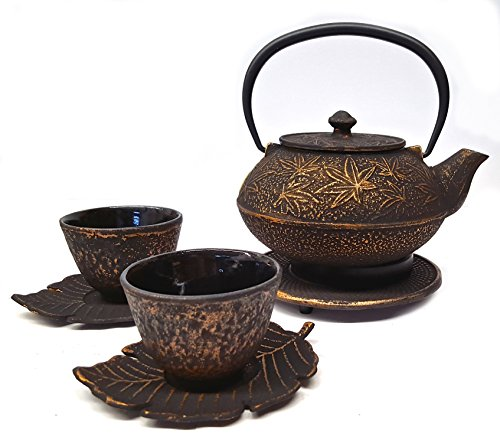 Happy Sales Cast Iron Tea Set Maple Leaf Black & Gold by Happy Sales
