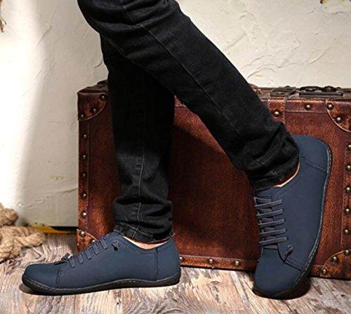 DHFUD Chaussures Décontractées blue Cuir Lacets Pour Chaussures Sport de Britanniques Chaussures en Chaussures Low de Chaussures Summer Conduite à Hommes AAxq1z4