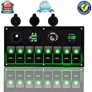DCFlat 4 Gang / 6 Gang / 8 Gang Circuit LED Car Marine Waterproof 5 Pin Boat Rocker Switch Panel with Fuse Dual USB Slot LED Light + Power Socket Breaker Voltmeter for RV Car Boat (8 Gang-Green)